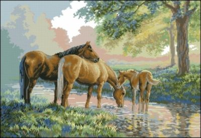 Dimensions 35174 - Horses by a stream